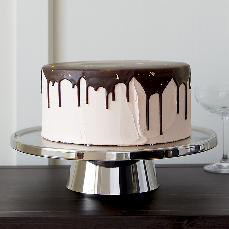 Stainless steel cake pedestal from Crate & Barrel