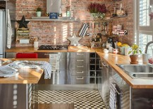 Stainless steel of the lower cabinets brings sparkle to the kitchen [From: Lexington Textil]