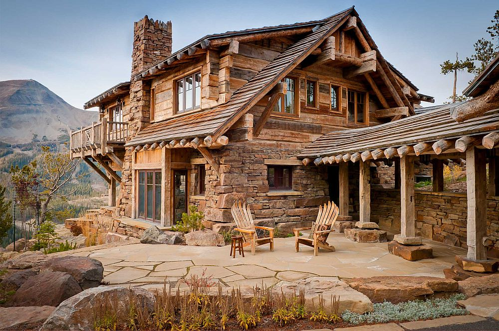 Dancing hearts picture perfect hillside escape in montana for Stone and wood house plans