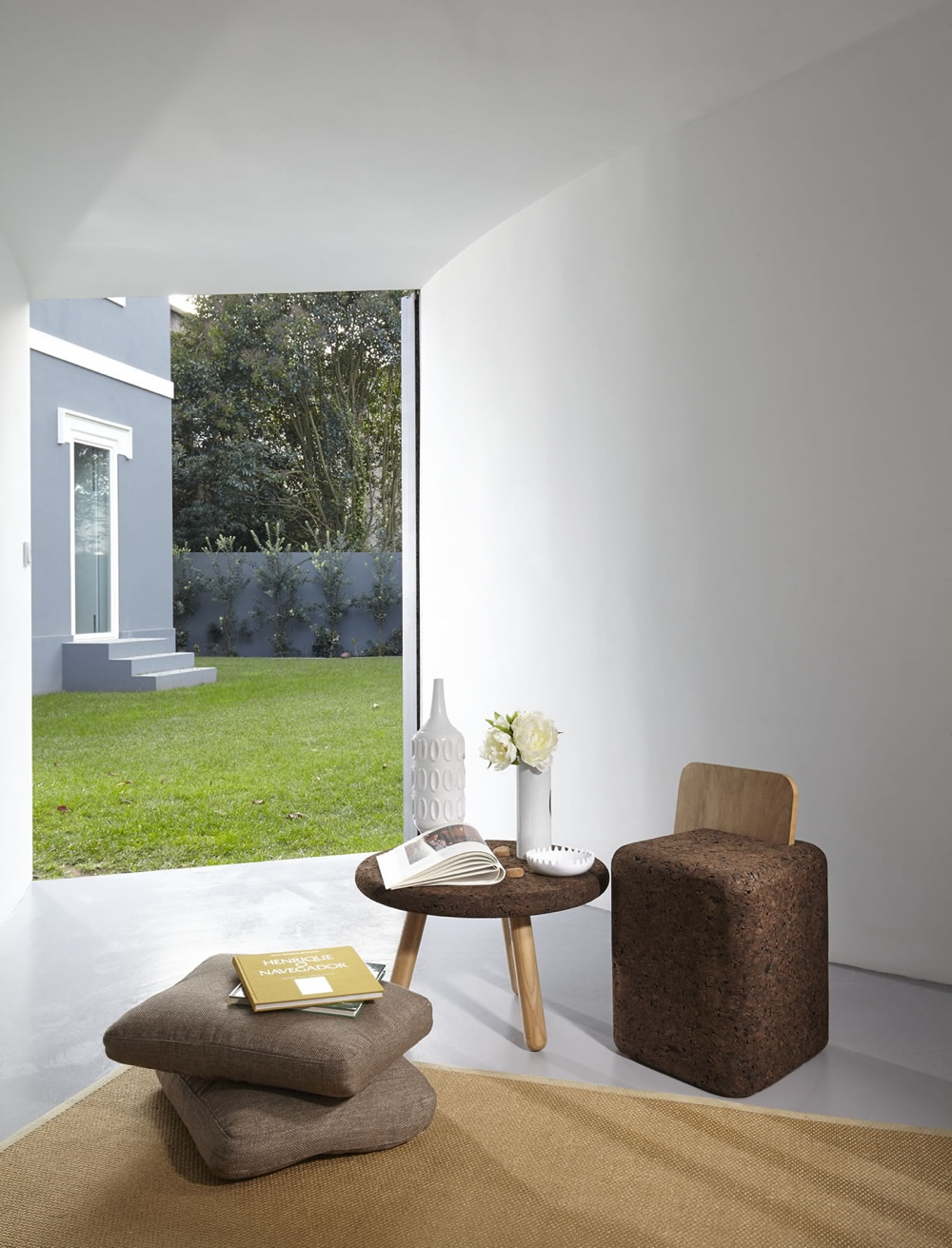 Stool and coffee table from BlackCork