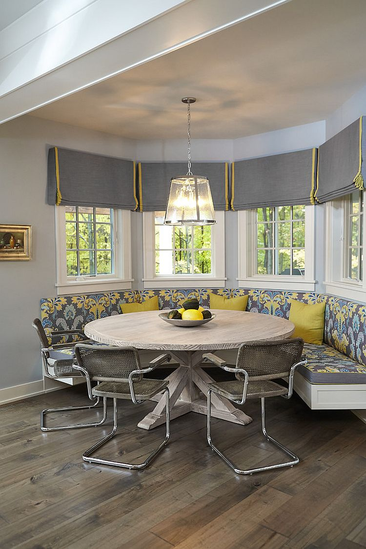 Stylish dining room makes most of the corner niche [Design: Insignia Homes]