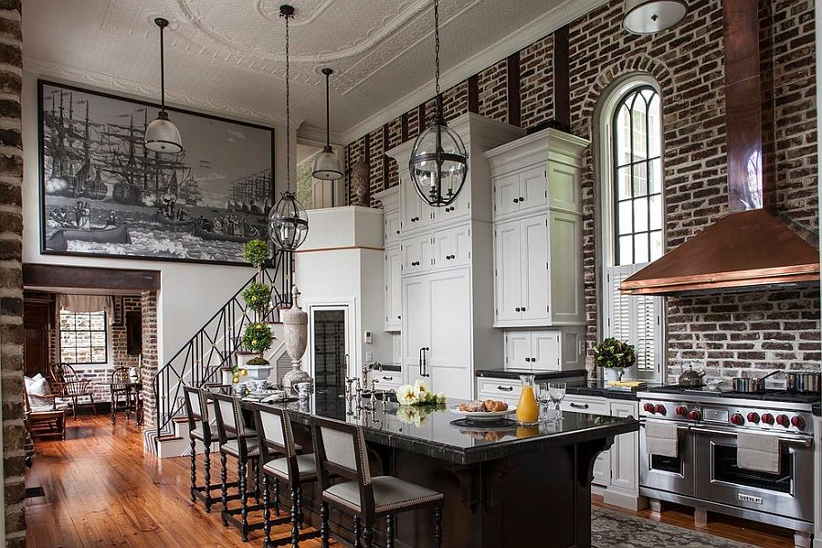 Sweeping Victorian Kitchen With High Ceiling Brick Wall Backdrop And An Air Of Dramatic Flair