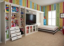 Take out the bright walls and you have the ideal guest room and playroom combo