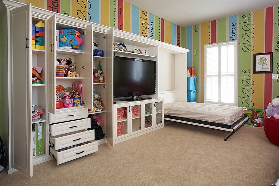 Take out the bright walls and you have the ideal guest room and playroom combo [Design: Tailored Living]