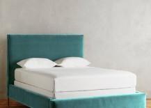Teal velvet bed from Anthropologie
