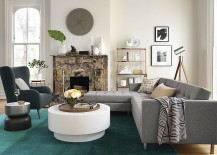 Teal wool ombre rug from CB2