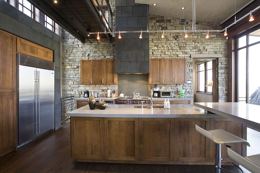 Telluride Gold stone wall brings rustic beauty to modern industrial kitchen [Design: Spot Design]