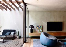 Textured walls and modern decor shape the interiors of the elegant Aussie home 217x155 Light Wells and Garden Features Transform Urbane Aussie Home
