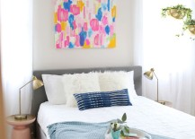 The guest room of A Beautiful Mess blogger Elsie Larson 217x155 Breezy Design: Light and Airy Interiors with Modern Style