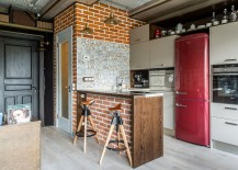 Tiles, brick and handmade decor craft a unique industrial kitchen