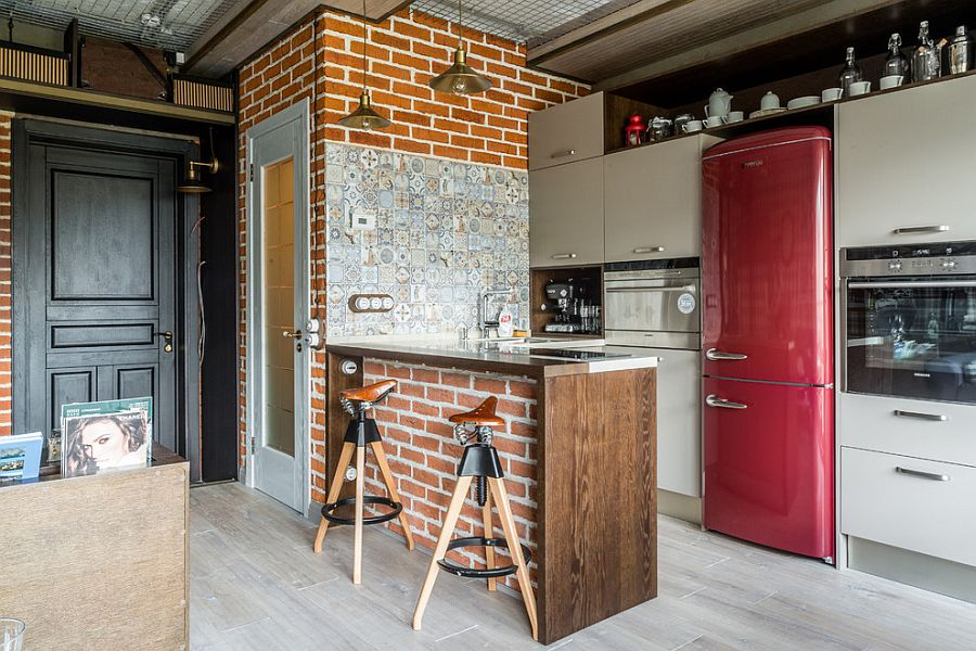 Tiles, brick and handmade decor craft a unique industrial kitchen [Design: Litvinov design]