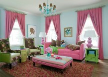 Traditional living room benefits from an infusion of pink and green