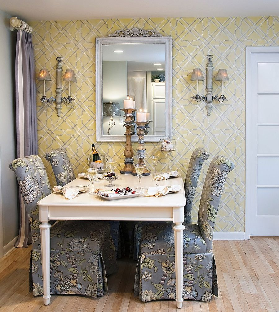Traditional yellow and gray dining room with custom chairs that steal the show [Design: Nancy Lucas –Decorating Den Interiors]