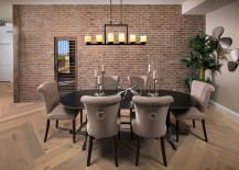 Transitional dining room with plush chairs in gray [Design: Luster Custom Homes & Remodeling]