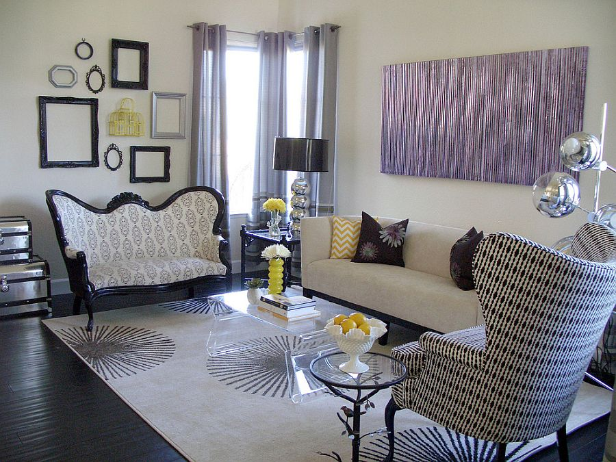 Transitional living room with a hint of purple [Design: Nina Jizhar]