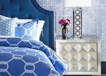 Tufted peacock blue bed from Jonathan Adler