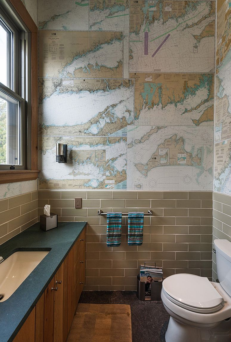 View In Gallery Turn Those Old Maps Into Gorgeous Custom Wallpaper Design Sandvold Blanda Architecture Interiors