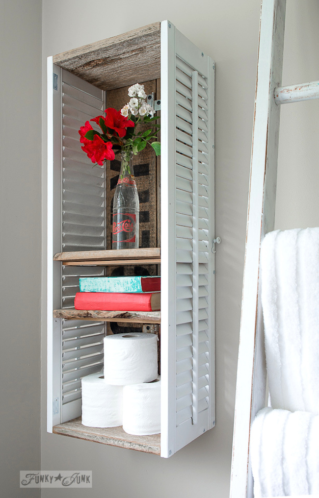 Two shutters turned into a unique bathroom shelf