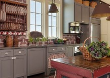 Unique farmhouse kitchen with a touch of red, blue and white