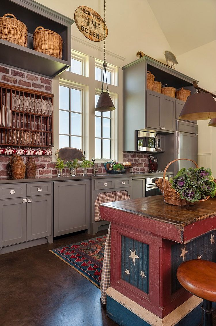 unique farmhouse kitchen with a touch of red blue and white design
