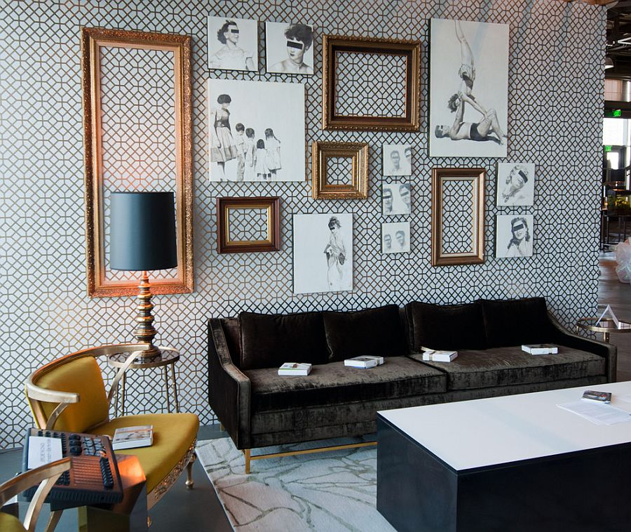Unique living room uses unframed sketches and empty picture frames as snazzy decorative pieces [From: Houzz]