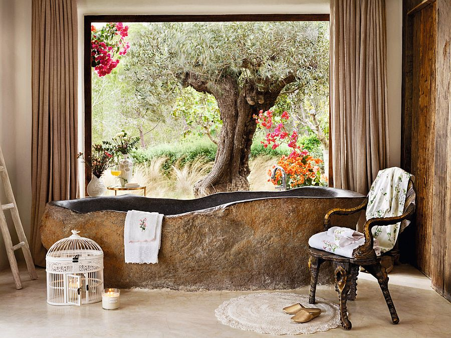 Unique stone bathtub provides spa-styled luxury at home [Design: Zara Home]
