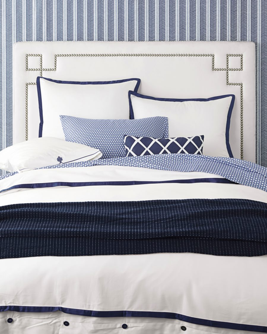 Upholstered bed with nailheads from Serena & Lily