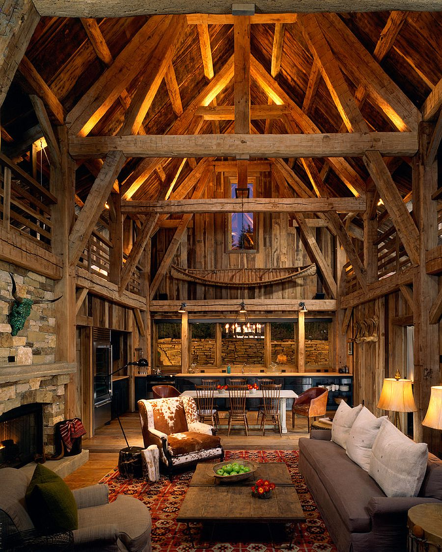Uplighting for the wooden beams creates a fascinating and dreamy living space