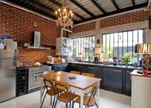 Urban chic kitchen with sparkling lighting