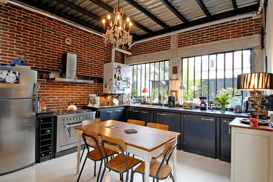 Urban chic kitchen with sparkling lighting 50 Trendy and Timeless Kitchens with Beautiful Brick Walls
