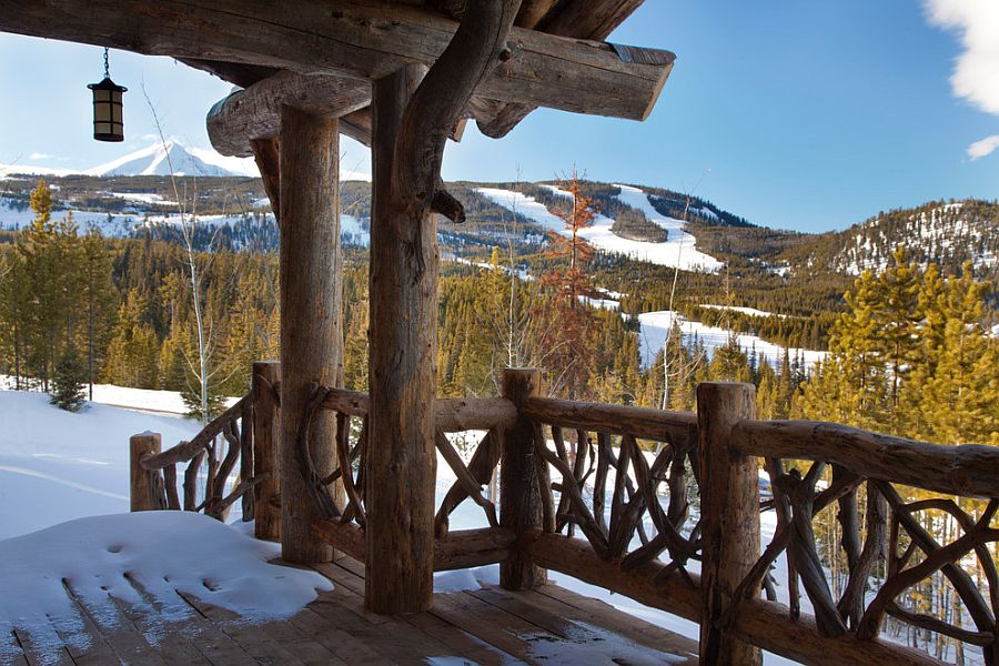 View of the snow-covered slopes from the deck of Spanish Peaks cabin