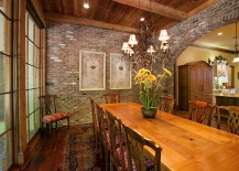 Vintage brick and lovely rug for the traditional dining room