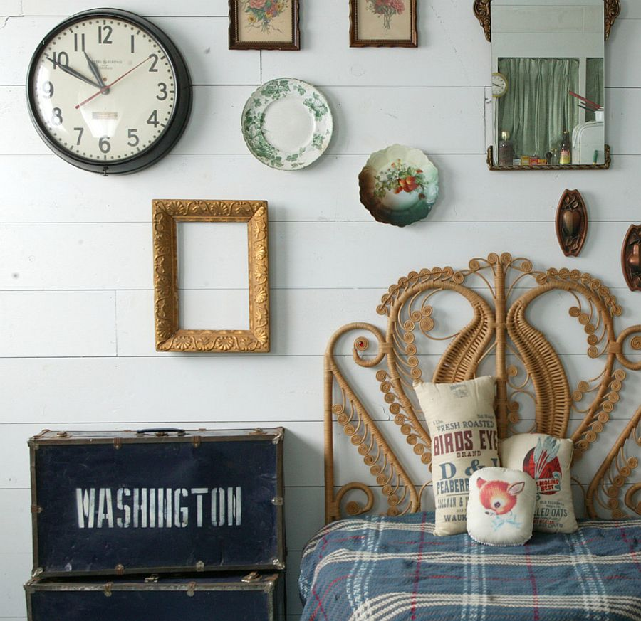 Vintage finds help create a fascinating shabby chic bedroom [Design: Jonnie Andersen]