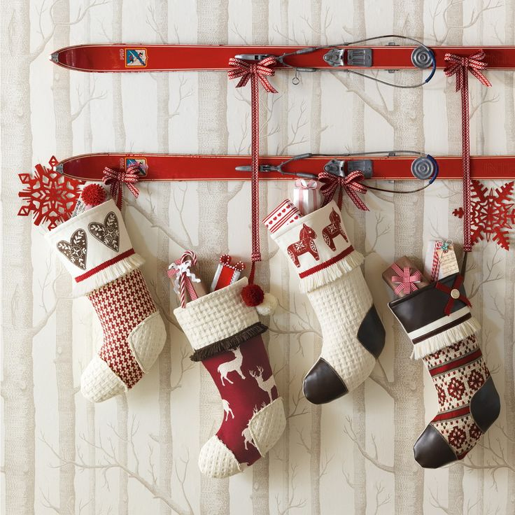 view in gallery vintage skis with stocking nice christmas decorating ideas - Christmas Socks Decoration