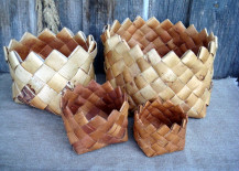 Vintage woven birch bark baskets from Etsy shop Vintage Butik Gita
