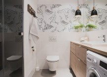 Wall decal in the bathroom gives it a fun, modern twist