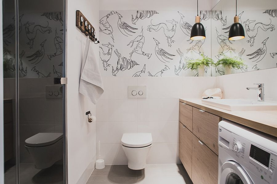 Wall decal in the bathroom gives it a fun, modern twist