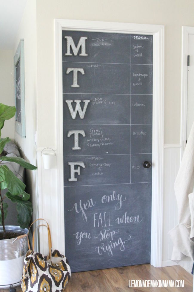 Weekday chalkboard calendar on one full side of a door