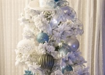 White top hot with feather that matches a white tree 217x155 8 Beautifully Unusual Christmas Tree Topper Ideas