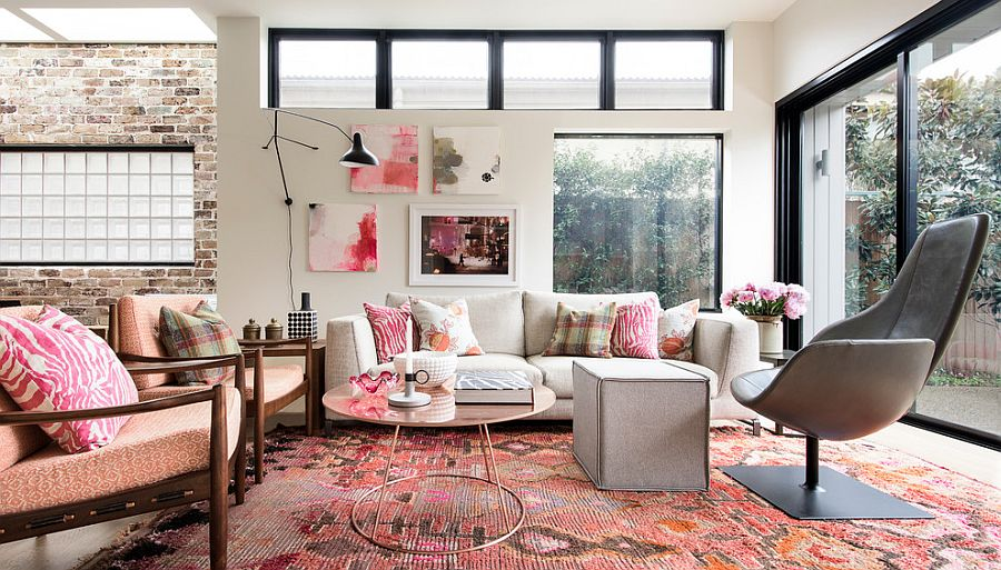 Who says pink in the living room is not classy and refined? [Design: Brett Mickan Interior Design]