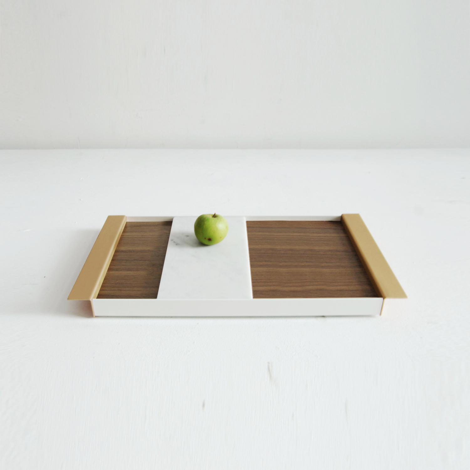 Wood, aluminum and marble tray from Ladies & Gentlemen Studio