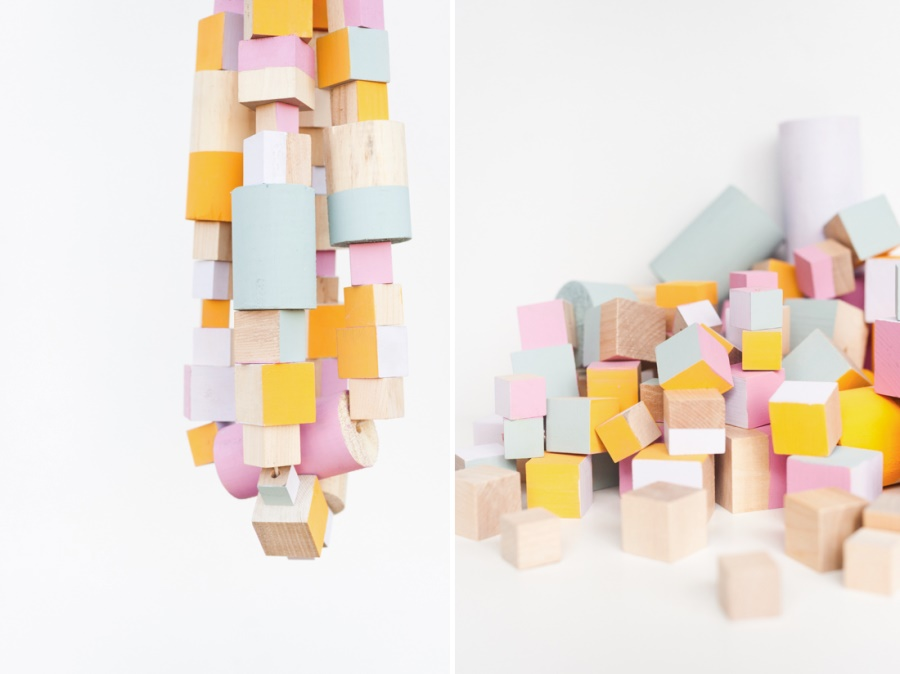 Wooden block garland DIY from Paper & Stitch
