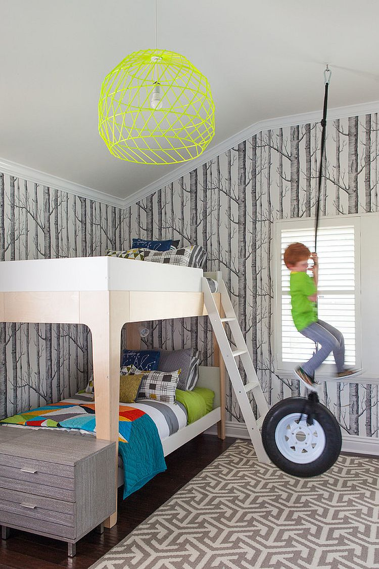 25 cool kids bedrooms that charm with gorgeous gray for Cool wallpaper designs for bedroom