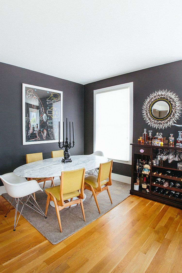 trendy color duo 20 dining rooms that serve up gray and. Black Bedroom Furniture Sets. Home Design Ideas