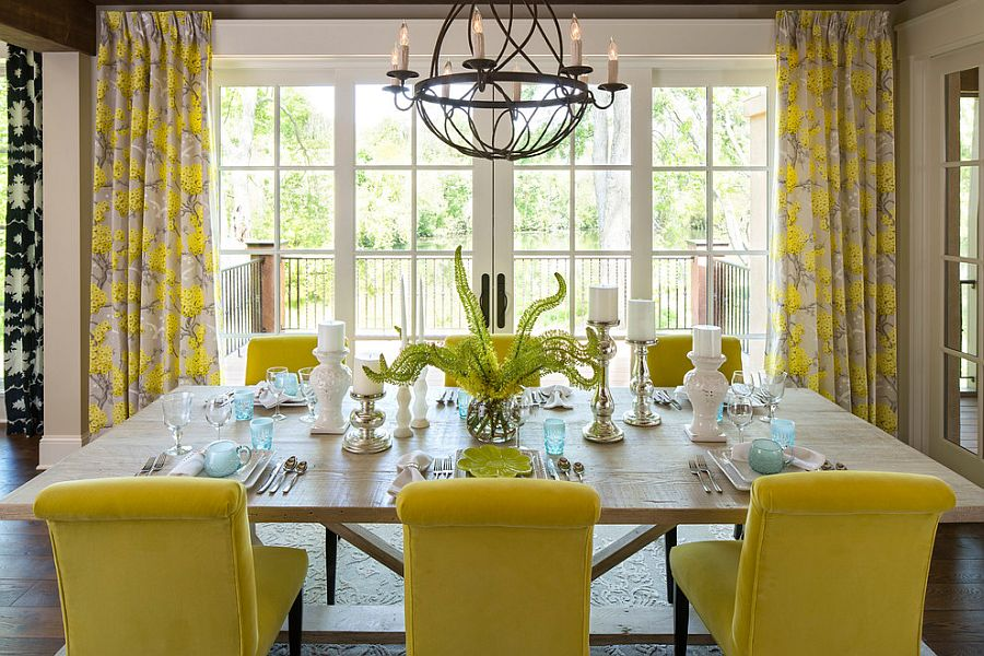 Yellow plays the lead role in this cheerful dining room [Design: Martha O'Hara Interiors]