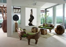 A blend of contemporary panache and nature-centric design in the living room