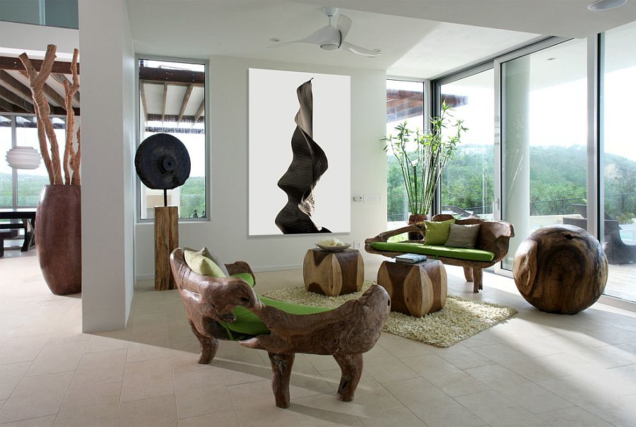 View In Gallery A Blend Of Contemporary Panache And Nature Centric Design  In The Living Room [Design