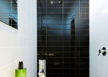 A hint of black for the small modern powder room