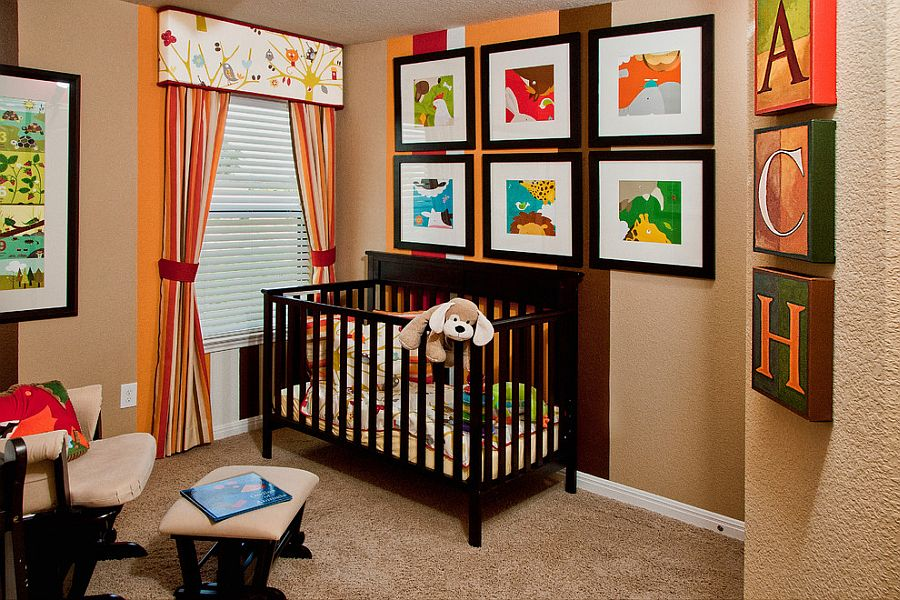 A less obvious way to use stripes in the contemporary nursery [Design: Stylecraft Builders]