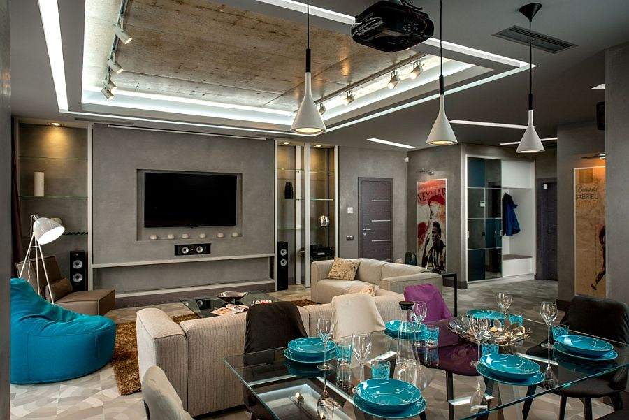 A projector, screen and smart lighting create a cozy entertainment zone